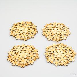 Onderzetters hout bloemetjes klein
